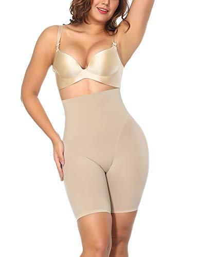 FeelinGirl Mujer Braguita Modeladora Faja Reductora Adelgazantes Shapewear Bodysuit de Cintura con Pierna Largo Dobladillo de Encaje Beige Cintura 78-84cm(L/Talla 40-42)