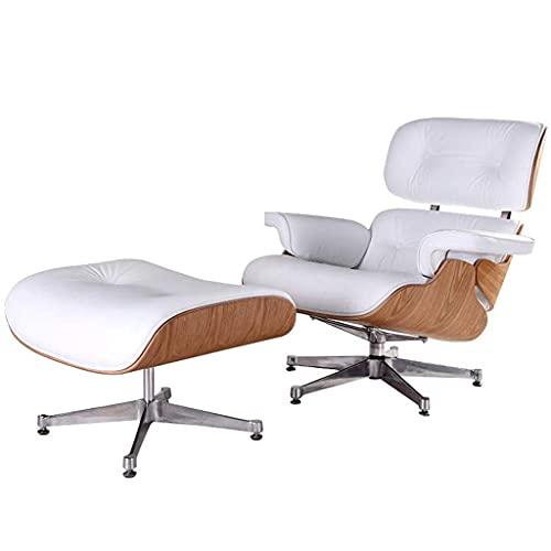 Aisima Sofá reclinable de Cuero, sillón Mid Century con Cuero Genuino y Base de Aluminio Resistente Chaise Moderno para Dormitorio, Sala de Estar, salón, Oficina,Ash+White