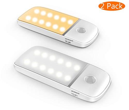 LED Nachtlicht mit Bewegungsmeldert/Kalt- und Warmlicht, Nachtlicht mit 12 batteriebetriebenen LEDs, für Garderobe, Schranklichter, Treppe und Balkon mit abnehmbarem Magnetstreifen …