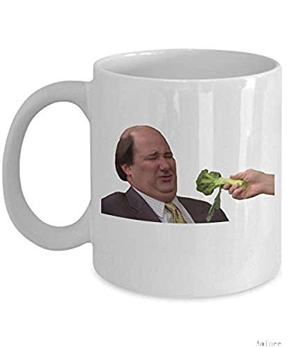 11oz Coffee Mug Kevin and Broccoli Cup (White) The Office TV Show Kevin Malone Accessories Merchandise Shirt Sticker Decal Art Decor Best Mug Gifts