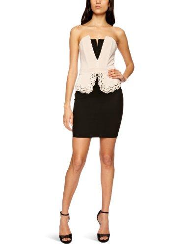 Lipsy Damen Cocktail Kleid Cutwork peplum dress, Mini, Gr. 36 (10), Mehrfarbig (Black/Nude)