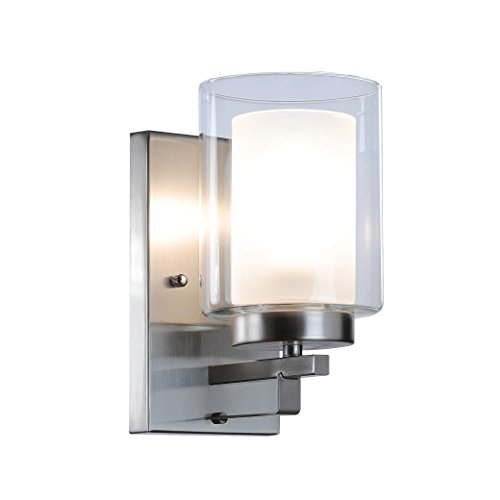 XiNBEi Wall Light 1 Light Wall Lamp with Dual Glass Shade, Modern UP/Down Wall Lights in Brushed Nickel for Bedroom & Living Room XB-W195-1-BN
