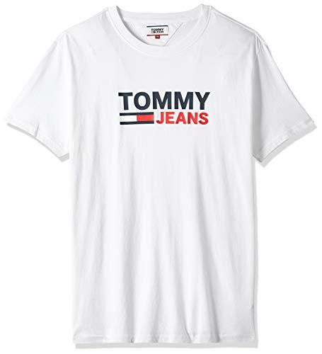 Tommy Hilfiger TJM Corp Logo tee Camiseta Deporte, Blanco (White Ybr), Medium para Hombre