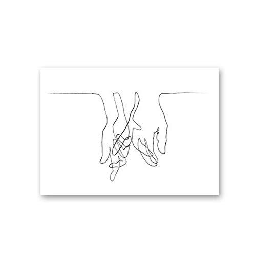ASLKUYT Lover's Hands Strichzeichnung inspiriert von Picasso Modern Poster Print Minimalist Gesicht Kunstwerk Skizze Leinwand Gemälde Schlafzimmer Dekor-50x70cm Kein Rahmen
