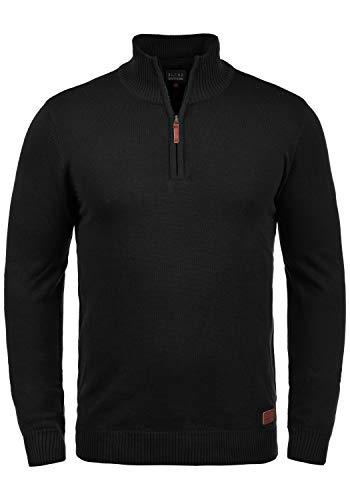Blend Robin Herren Strickpullover Troyer Feinstrick Pullover Mit Stehkragen Und Reißverschluss, Größe:XXL, Farbe:Black (70155)