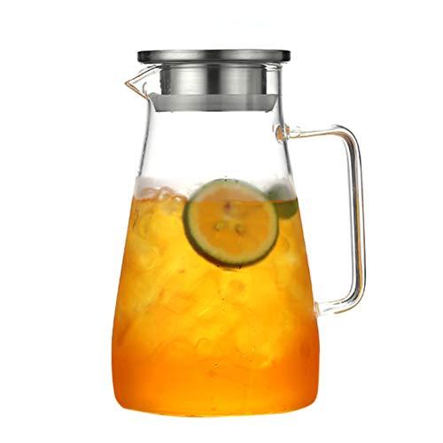 Teekanne Glas Teebereiter, Glaskaraffe 1,8 Liter (Volle Kapazität) Glaskrug aus Borosilikatglas Wasserkrug mit Edelstahl Deckel Karaffe Glaskanne