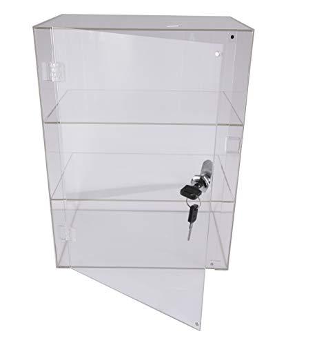 PC3721@ 1 Vetrina acrilica Trasparente Lucida con sportello Anteriore e Lucchetto di Sicurezza (406 x 300 x 203 mm)