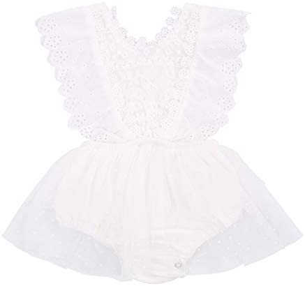Newborn Infant Baby Girls Butterfly Sleeve Romper Clothes Ruffle Lace Bodysuit Tutu Dress Jumpsuit product image