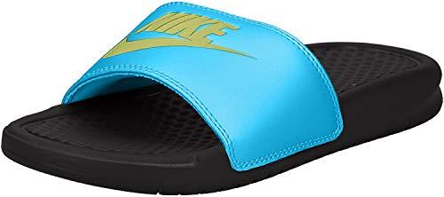 Nike Women's Benassi Just Do It Sport Sandal, Black/Limelight-Blue Fury, 7 Regular US