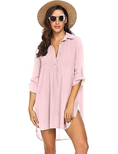 Ekouaer Womens Bathing Suit Cover Up Swimwear Beach Cover Up Shirt Dress Light Pink