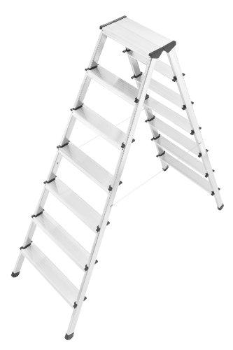 Preisvergleich Produktbild Hailo D60 StandardLine Alu-Sicherheits-Doppelstufenleitern (2x5 Stufewnbelastbar bis 150 kg),  silber,  8655-001