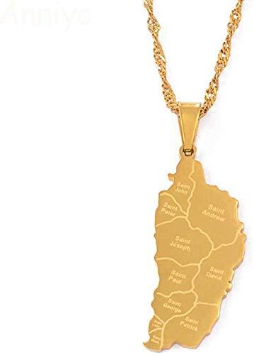 BACKZY MXJP Collar Dominica Mapa Y Nombre De La Ciudad Colgante Collares De Cadena para Mujeres Niñas Dominica Mapas Joyería De Acero Inoxidable Regalos