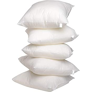 "ROYAL TREND Hotel Quality Cotton Fiber 5 Piece Cushion Filler - 12"" x 12"", White"