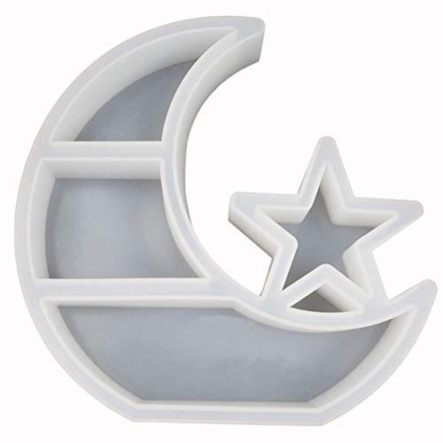 OTentW Molde de Almacenamiento de Silicona de Cristal DIY Luna Estrella Bandeja Grande Mesa Molde de Resina epoxi Eclipse Colgante Molde joyería artesanía fabricación