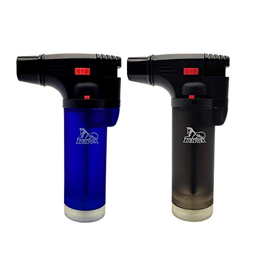 LUBINSKI 2 Pcs Cigar Lighter Windproof Butane Big Single Torch Jet Blue Flame Cigarette Lighter for Cigar Cooking BBQ Topsense (Multicolor Sales) (Black+Blue)