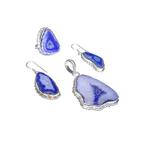 Artesanal - Juego de joyas con colgante, pendientes y anillo para mujeres y niñas, plata de ley, color morado