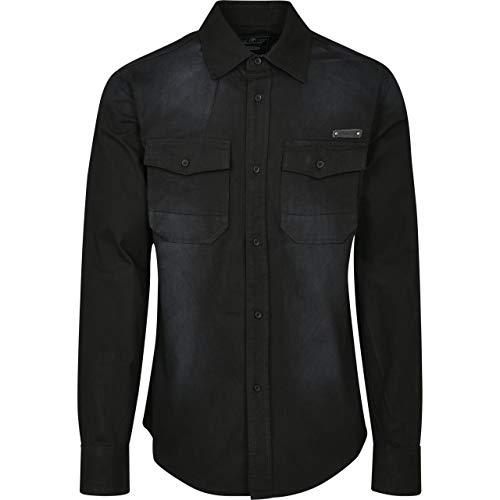 Brandit Hardee Denim Shirt Camisa, Schwarz, S para Hombre