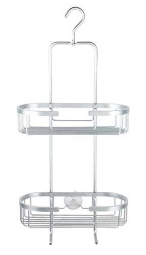 WENKO Badregal 2 Etagen Gomo - Duschregal zum Hängen, Aluminium, 29 x 63 x 13 cm, Aluminium