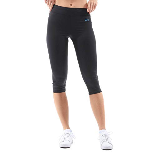 SPORTKIND Sportkind Mädchen & Damen Fitness, Yoga, Sport 3/4 Capri Leggings, Mid Waist, blickdicht, atmungsaktiv, schwarz, Gr. 110