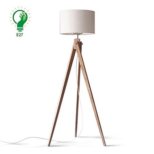 XXCC Nordic staande lamp verticaal woonkamer slaapkamer houten tafellamp E27 stof lampenkap opvouwbare plug-in staande lampen creatief retro staande lamp verlichting
