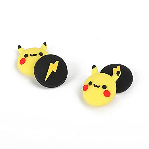 PERFECTSIGHT Cute Thumb Grip Caps 4PCS Compatible with Nintendo Switch & Switch Lite,Soft Silicone Cover for Joy-Con Controller (Pikachu)