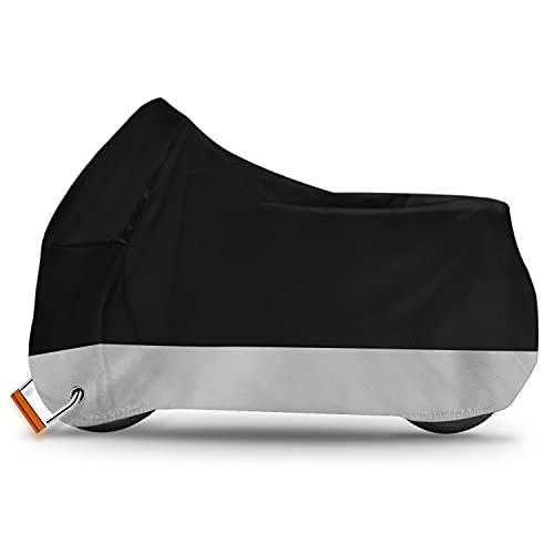 Alfheim Telo Coprimoto - Coperture per moto traspiranti impermeabili in tessuto 210D Oxford con 2 fori di bloccaggio Antifurto - Anti polvere/ruggine/pioggia/neve/UV per Honda,Yamaha (XXL)
