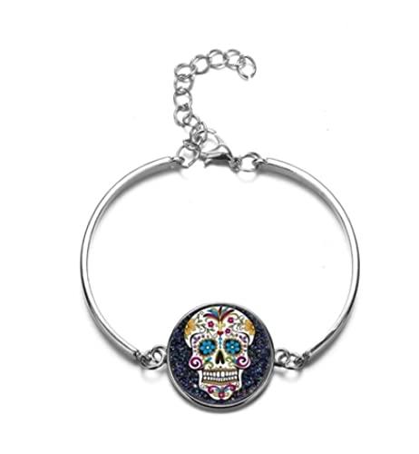 Cristal Brazalete De Piedras Preciosas Calavera Damas Hombre Moda Joyas Día De La Muerte México Cultura Tradicional Pulsera Brazalete