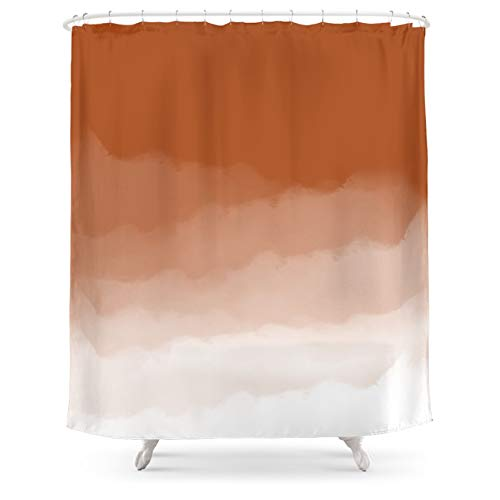Society6 Burnt Orange Watercolor Ombre Burnt Orange/White by Design Minds Boutique on Shower Curtain