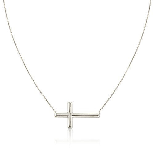 Ross-Simons Sterling Silver Sideways Cross Necklace. 16 inches