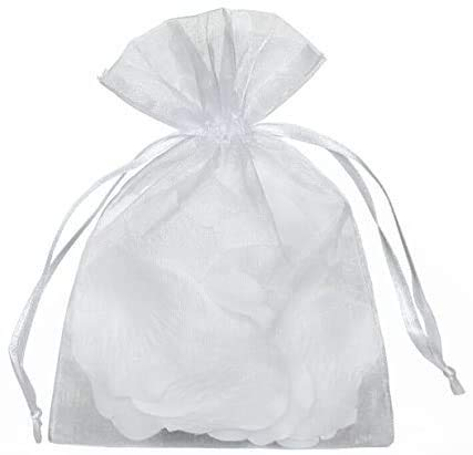 Yunko 50pcs Sheer Organza Drawstring Pouches Gift Bags White Color 6x9 Inches