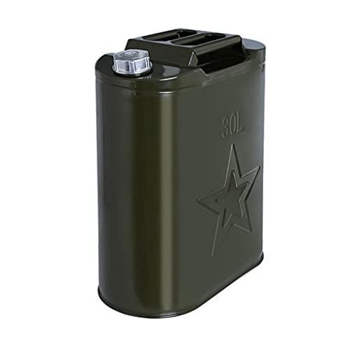 ZWB Metal Verde Bidón de Gasolina con Pico de 2.5 galones 5 galones Gas Puede de Gran Capacidad de Recambio for automóviles de Gasolina Bote Vertical (Color : 30L)