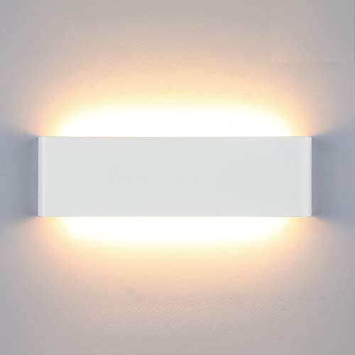 Lightess 16W Lámpara de Pared Interior Apliques de Pared LED Moderna Luz de Aluminio Acrílico Iluminación para Salón Sala de Estar Dormitorio Baño Escalera (blanco cálido, blanco)