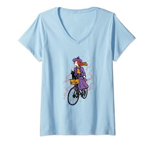 Mujer Brujas niña con gato, mujer en bicicleta, Halloween, bruja Camiseta Cuello V