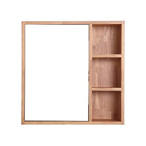 Armoires avec miroir Armoire de Toilette en Bois Massif Casier Multicouche Miroir Mural de Toilette Cabinet médical Support de Brosse à Dents Miroirs de Salle de Bain