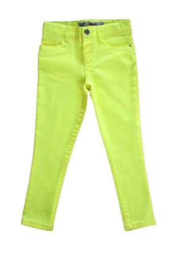 Unbranded Mädchen Plain Röhren Jeans Baumwoll Hose Türkis Blau Gelb Rosa Alter 3-13 Jahre (6-7 Jahre, Gelb)