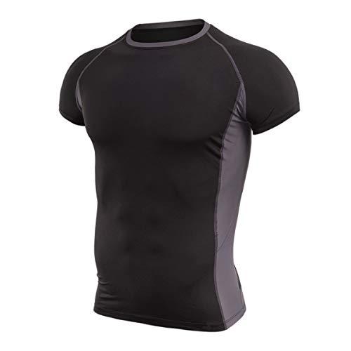 Hivexagon Camisetas de Fitness Compresión Ropa Deportiva Manga Corta Hombre para Gimnasio Ejercicio SM100GYXL