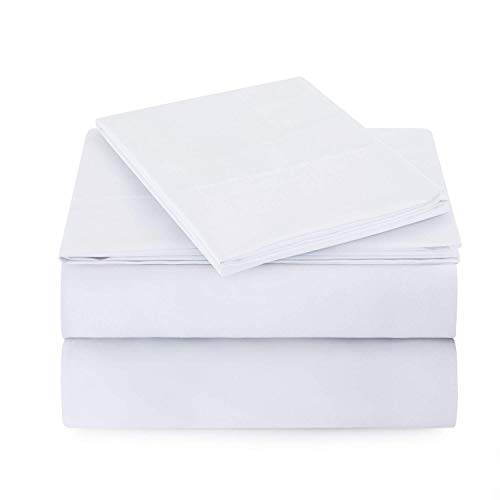 Theadology 100% Cotton Sheets 800-TC Pure Rv-King Size White 4-Piece Extra Long-Staple Cotton Best Bedding Sheet Set for Bed, Breathable, Soft & Silky Sateen Weave Fits Mattress 20'' Deep Pocket