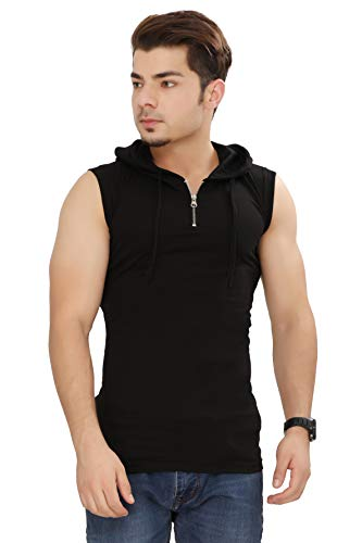 Fashitude Men's Solid Half Zipper Hooded Sleeveless T-Shirt Black