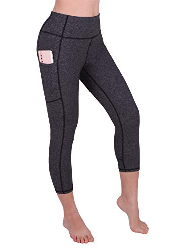 GRAT.UNIC Sport Leggings Damen, 3/4 Yoga Sporthose,Fitnesshose mit Taschen,Yogahosen,Damen Capri Leggings,Hohe Taille Schwarz Stretch Workout Fitness Jogginghose (Dunkelgrau 3/4, XL)
