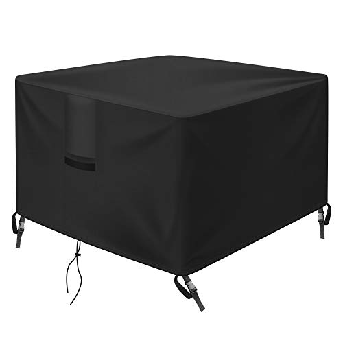 OKPOW Fire Pit Cover Square 30 inch, 600D Heavy Duty Outdoor Firepit Covers Waterproof Windproof Anti-UV,Suitable for 28 inch,29 inch,30 inch Fire Pit/Table, Black