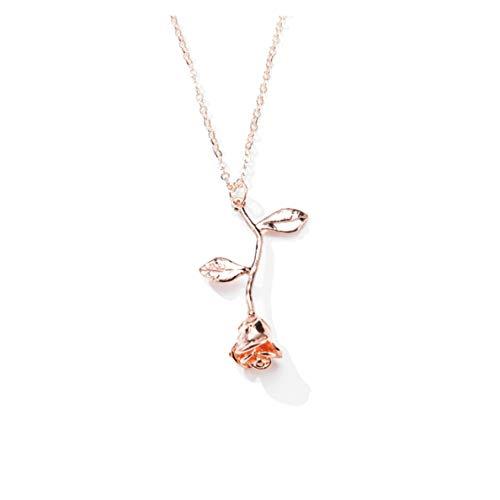 Collar mujer color oro rosa Venury 02 colgante rosa flor 45 cm elegante y refinado