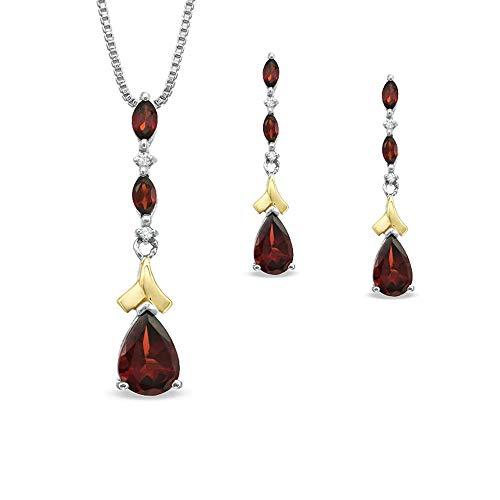 Juego de pendientes y colgantes de diamante en forma de pera y granate y D/VVS1 en plata de ley 925 y chapado en oro amarillo de 14 quilates, 9 x 6 x 5 mm