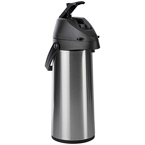 ONVAYA® Airpot Pumpkanne | 1,8 Liter | Isolierkanne | Thermoskanne | Getränkespender | Edelstahl mattiert | Kaffeekanne | Doppelwandig