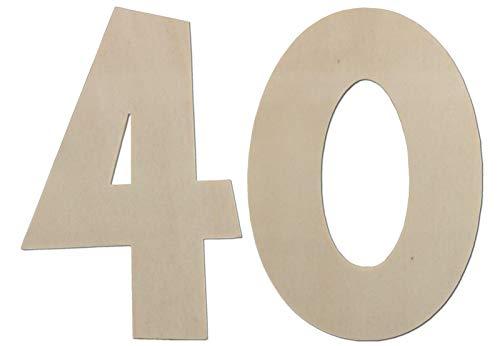 Numeri decorativi – Decorazione per compleanno 40° compleanno in legno – ideale come regalo di compleanno o come decorazione da tavolo (30 cm)
