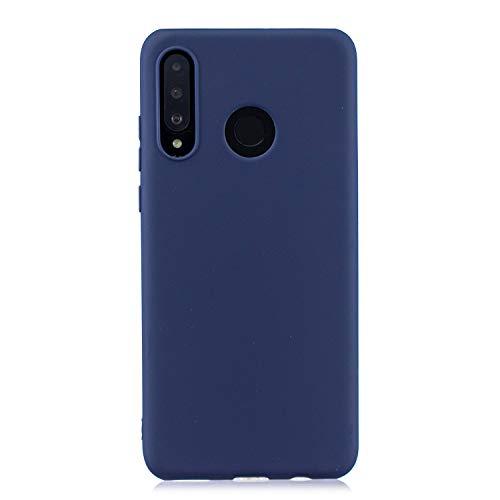 cuzz Funda para Huawei P30 Lite+{Protector de Pantalla de Vidrio Templado} Carcasa Silicona Suave Gel Rasguño y Resistente Teléfono Móvil Cover-Azul Oscuro