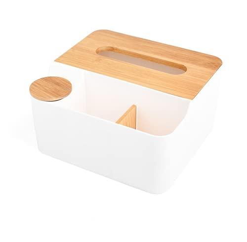 Soporte para mando a distancia, caja de pañuelos, caja de cosméticos, organizador multifuncional de escritorio, separador extraíble, caja de almacenamiento de escritorio (azul) (blanco)