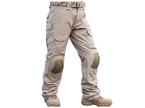 Paintball Equipment Herren Militär Airsoft Jagd BDU Hose Combat Taktische Gen2Hose mit Knieschoner Tan, hautfarben