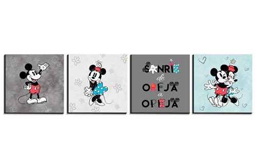 Cuadros Decorativos Pack de 4 Mickey Mouse Vintage Decoracion de Habitacion Infantil Medidas Cada Cuadro 20X20 cm