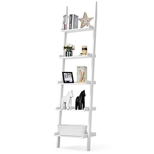 GIANTEX Leiterregal mit 5 Ebenen, Standregal Bücherregal aus Holz, Vintage Industrial, Wandlehnregal Treppenregal Pflanzenregal für Wohnzimmer, Schlafzimmer, Balkon, Büro (weiß)