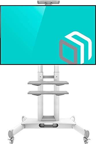 """ONKRON Mobil TV Ständer Universal für 32\'\'- 65\"""" Zoll LCD OLED LED 4K 8K Bildschirme Höhenverstellbar Rollbar Standfuss mit AV-Ablagen TV-Fernsehständer TS1552 Weiß"""